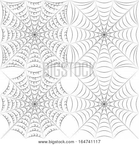 Set of vector patterns with spider web and drops.