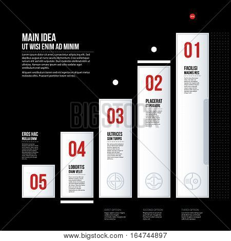 Futuristic Corporate Chart Template On Black Background. Useful For Presentations And Marketing Medi