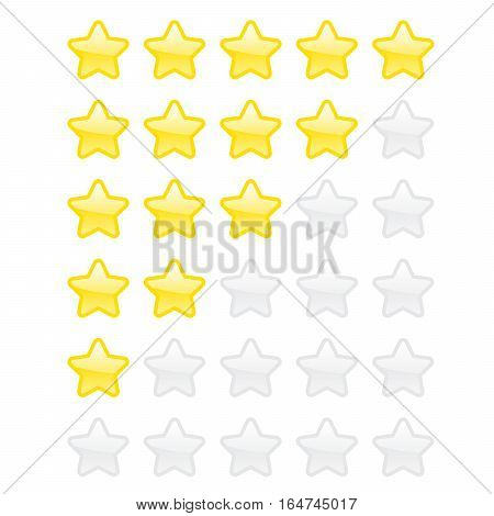 Set Abstract Flat Style Yellow And Golden Vector Star Icon Illustration. Glossy Golden Rating Star
