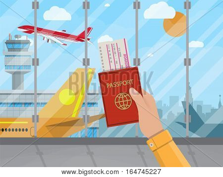 Man with passport and boarding pass waiting flight inside of airport with a plane, control tower, cityscape in background. Travel, vacation, Business trip concept. Vector illustration in flat design.