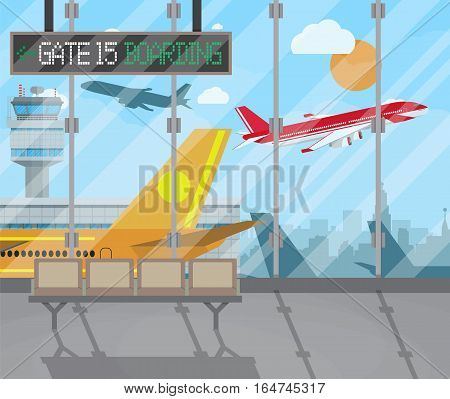 airport terminal with seats, plane, control tower, cityscape in background. Travel, vacation, Business trip concept. Vector illustration in flat design.
