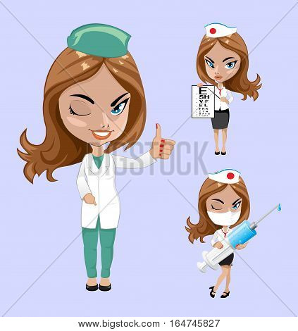 Vector illustration. Set of doctors or nurse in different poses. Three woman doctor.