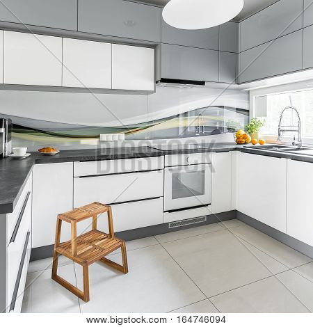 Bright Kitchen With Step Stool