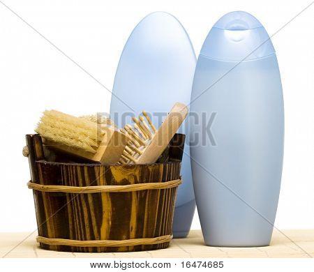 washtub with brush and shampoo