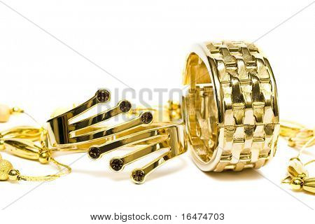 golden bracelets with beads isolated on white background