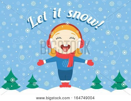 flat design vector illustration of cute little girl standing in the park on a winter day and catching snowflakes and text