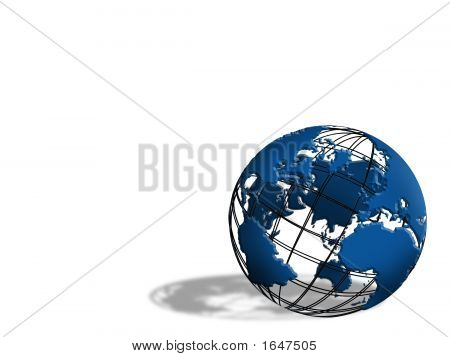 3D Blue Earth Globe With  Shadow Logo