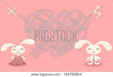 Labyrinth and pretty bunnies. Cute baby animals.