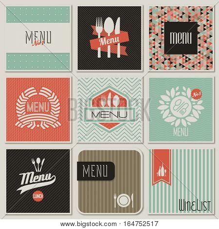 Restaurant menu designs. Retro-styled illustration.