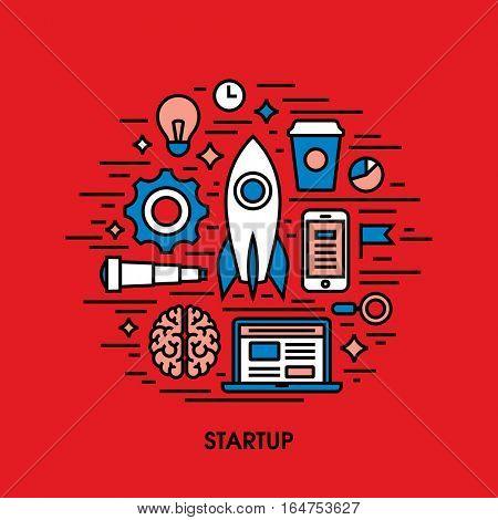 Flat line icons set of startup. Creative design elements