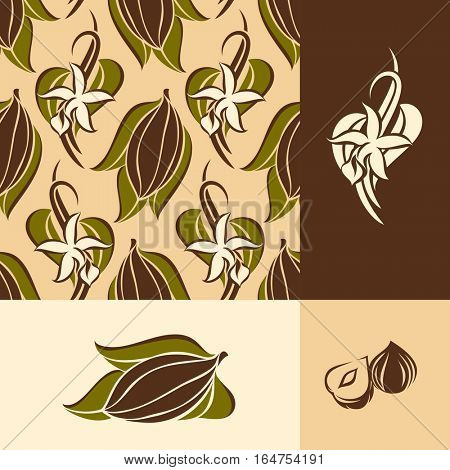 Cocoa bean with leaves and vanilla flower with pods. Seamless pattern and design elements