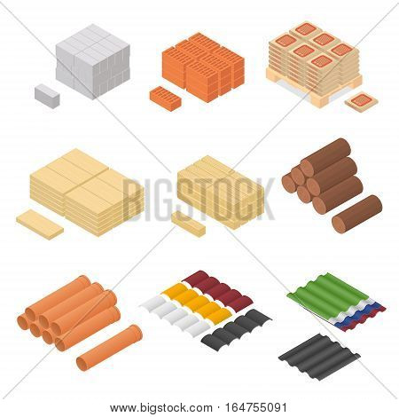 Construction Material Isometric View Supply for Renovation of Buildings Design Element Web. Vector illustration