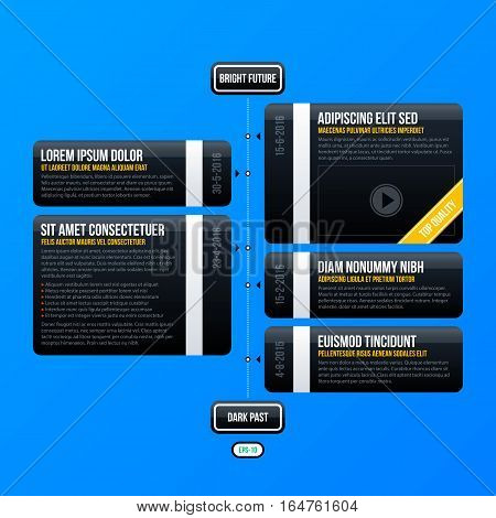 Corporate Business Timeline Template On Bright Blue Background. Useful For Presentations And Adverti