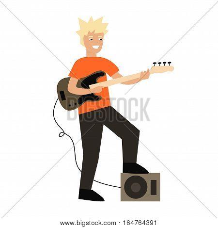 Cartoon Guitar Player Rock Band Star Electric Instrument Flat Design Style. Vector illustration