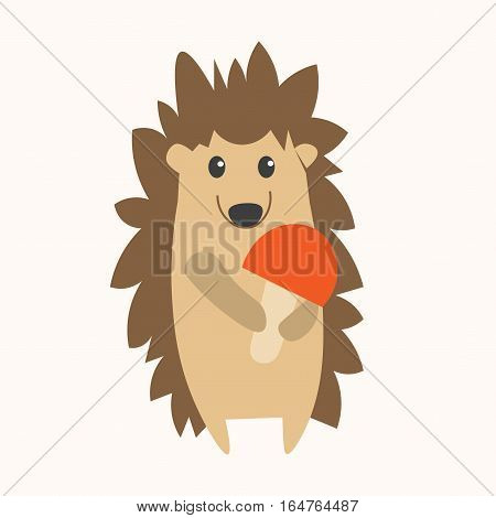 Cartoon Cute Smiling Hedgehog with Red Mushroom in Paws. Flat Design Style. Vector illustration