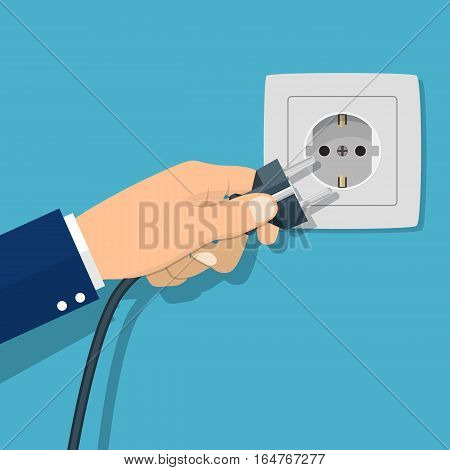 Hand connecting electrical plug. Vector illustration in flat design. Connecting power plug. Electricity concept