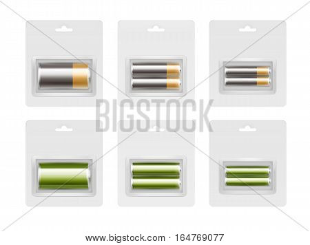 Vector Set of Black Yellow Golden Green Glossy Alkaline AA, AAA, C Batteries in Transparent Blister Packed for branding Close up Isolated on White Background