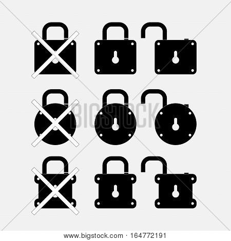 icons locks, security control, fully editable vector image