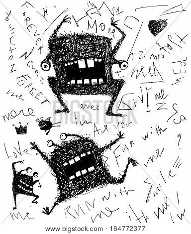 Black and white freaky modern creature with lettering scribble drawing. Vector illustration.