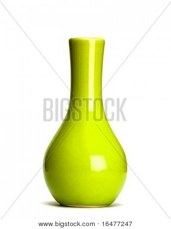 green vase isolated on white background
