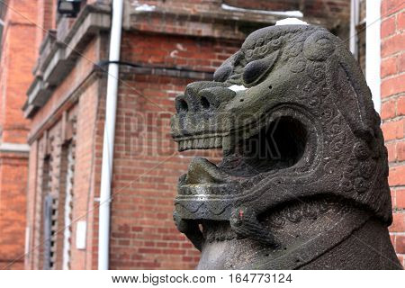Chinese lion - guard. mythical creature guarding the entrance to the temples and palaces. Vladivostok. Russia.