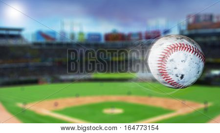 Flying baseball leaving a trail of smoke. Spinning dirty baseball, selerctive focus. 3D illustration