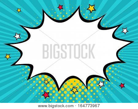 Empty comic speech bubble with dots and stars. Vector colorful background in pop art retro comic style