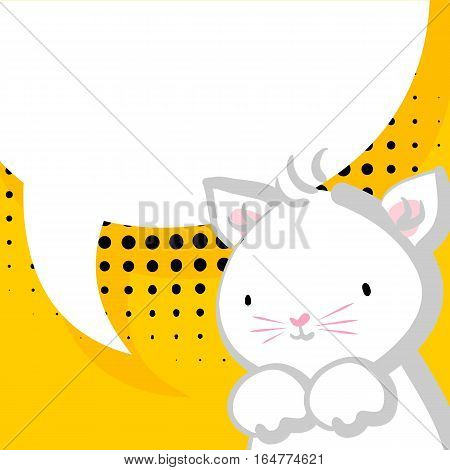 Comic bubble, empty balloon. Yellow halftone background. White cute little kitty pink nose for baby. Vector festive hand drawn cat illustration.