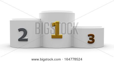 White cylinder podium with three rank places three-dimensional rendering 3D illustration