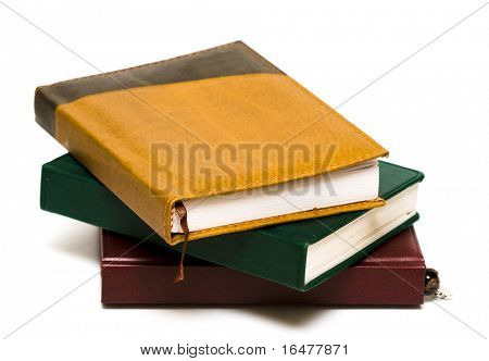 notebooks with book-mark isolated on white background