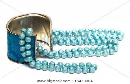 blue bracelet with beads isolated on white background