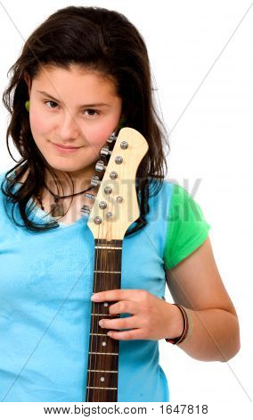 Teenage Girl With Her Electric Guitar