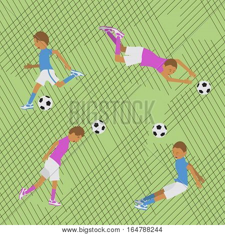 Seamless pattern soccer match in a flat design style. Vector illustration. eps10