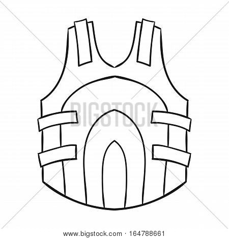 Paintball vest icon in outline design isolated on white background. Paintball symbol stock vector illustration.