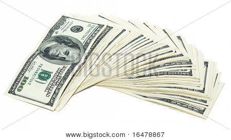 one hundred dollars on white background