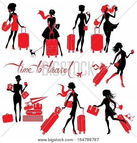 Set of young elegant woman silhouettes with suitcase isolated on white background. Fashion Girls travels the world. Calligraphic hand written text Time to travel.