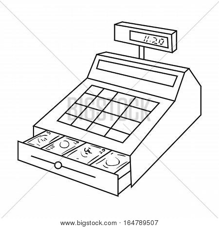 Cashbox icon in outline design isolated on white background. Supermarket symbol stock vector illustration.