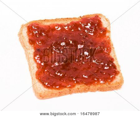 Breakfast of raspberry jam on toast