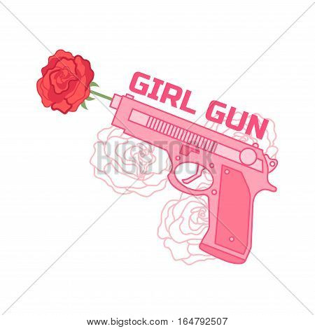 Girl gun. Hand drawn vector illustration with roses and pink pistol on a white background.