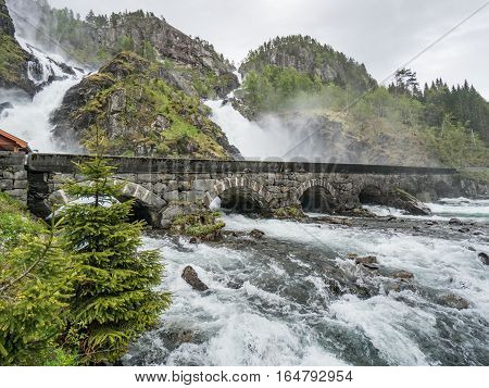 Odda, Norway - May 29, 2016: Latefossen waterfall