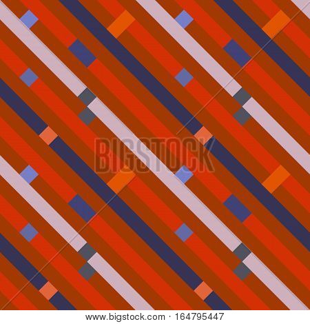 Seamless geometric stripy pattern. Texture of diagonal strips, lines. Rectangles on blue, orange, gray striped background. Hipster colored. Vector