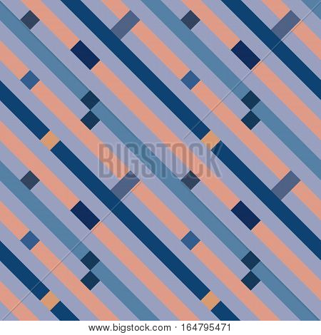 Seamless geometric stripy pattern. Texture of diagonal strips, lines. Rectangles on blue, orange, gray striped background. Baby, children colored. Vector