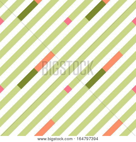 Seamless geometric stripy pattern. Texture of diagonal strips. Soft rose, green rectangles and green lines on white background. Baby, children colored. Vector