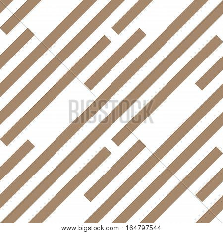 Seamless geometric pattern. Stripy texture. Diagonal gray-brown strips on white background. Labyrinth theme. Vector