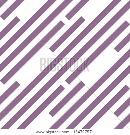 Seamless geometric pattern. Stripy texture. Diagonal lilac strips on white background. Labyrinth theme. Vector