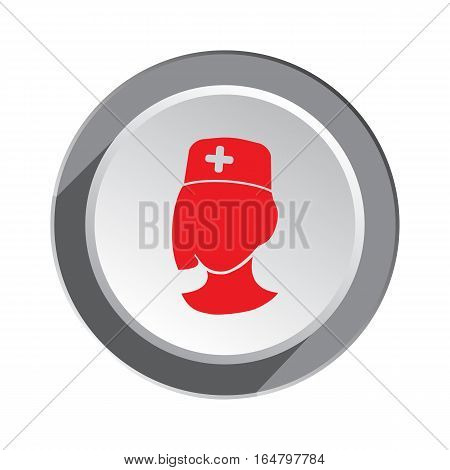 Medical hospital nurse, doctor icon. Woman face cartoon, hat, cross. Three dimensional round white gray button with shadow. Vector