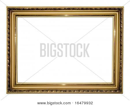 gold antique frame isolated on white background