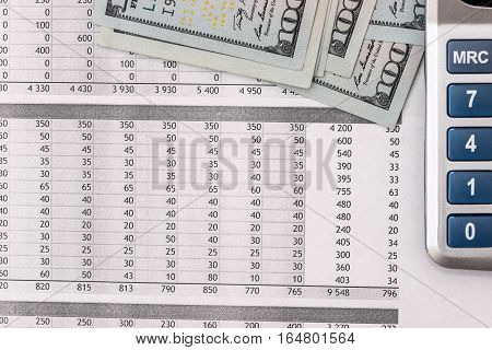 Financial documents with us dollar pen and calculator