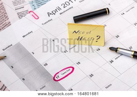 2017 April with business calendar and documents.