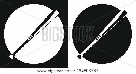Baseball bat. Silhouette baseball bat on a black and white background. Sports Equipment. Vector Illustration